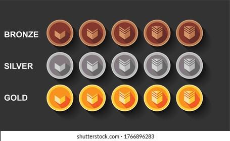 Flat set game rank illustration design. Bronze, silver and golden medal award.