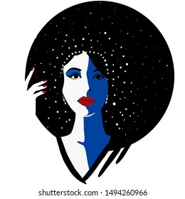 Flat silhouette fashion illustration of beautiful woman in big hat. Concept drawing of Starry Night. Trendy minimalistic style