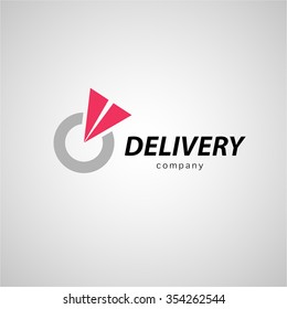 Flat simple logo template for logistics and express delivery company isolated on white background. Shipping service insignia design. Truck emblem. Brand mark.