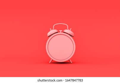 Flat single color, plastic material  desk clock room accessory in monochrome pink background, 3d rendering, toys and decorative objects
