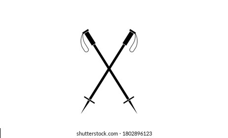 Flat ski sticks with black handles icon