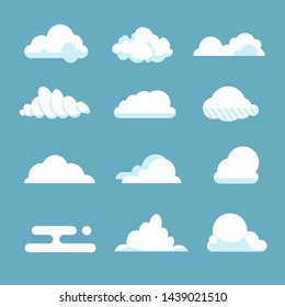 Flat sky cloud. Blue fluffy cartoon shapes white atmosphere cloudy elements vintage abstract overcast.  clouds set