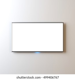 Flat Smart TV Mockup with blank screen hanging on wall, realistic Led TV, 3d rendering