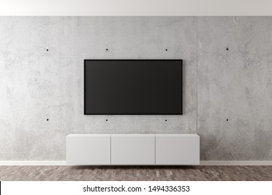 Flat smart tv panel on concrete wall with floating white sideboard and brown wooden floor - entertainment, media or home television set mock up template with copy space - 3D illustration