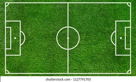 Flat soccer green field, football grass. Stadium top view. Soccer with line template.