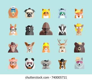 Flat Style Hipster Animals Avatar  Portraits or Icon Set for Social Media, Web Sites, etc. On Light Blue Background. Raster copy.