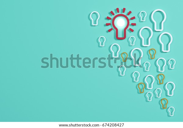 Flat style idea light bulb concept , Business strategy planning objects icon set collage , bulb bubble concept