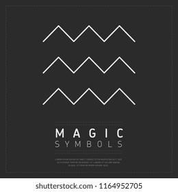 Flat style of magic symbol with few white zigzag lineon dark gray background