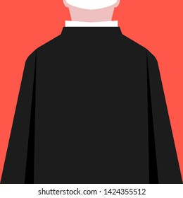 flat style priest silhouette back view. simple trend modern graphic art design on red background