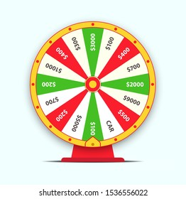 Flat style Raster illustration isolated on white background. Wheel of fortune with number bets.