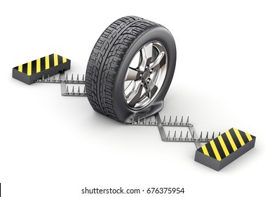 Flat tire on the spike strip - 3D illustration