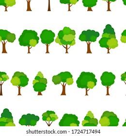 Flat tree Seamless Pattern Background  Illustration