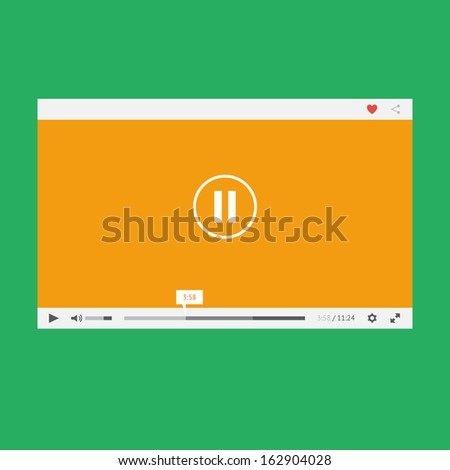 Flat Video Player Web Mobile Apps Stock Illustration 162904028