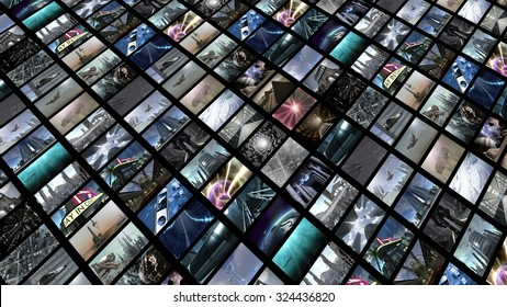 Flat video wall. 3D rendering