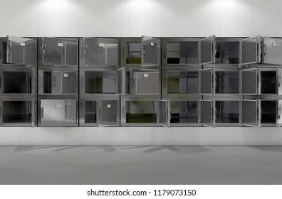 A flat wall of randomly opened fridges in a clean white ward in a mortuary - 3D render