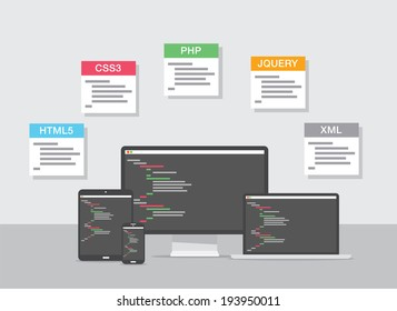 Flat web development design illustration coding concept