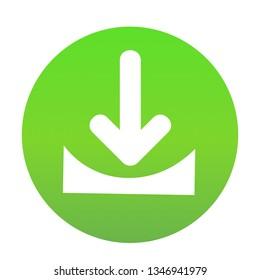 Flat white Download web icon on green button