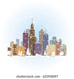 Flat winter cityscape background. Town architecture. Urban landscape illustration. Modern metropolis skyscraper silhouette. New year and xmas holidays.