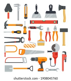 Flat work tools. Hammer and drill, ax and screwdriver. Pliers and saw, wrench and shovel. Construction tool isolated icons set