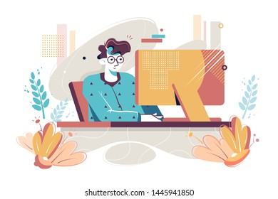 Flat young man with home clothes and glasses at computer. Concept morning relax businessman character with pajamas, sleepwear at house workplace. illustration.