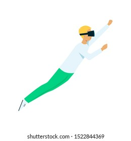 flat young man in virtual reality headset pointing flying like superman. Smiling male character in VR goggless enjoying cyberspace. Modern visual technologies concept.