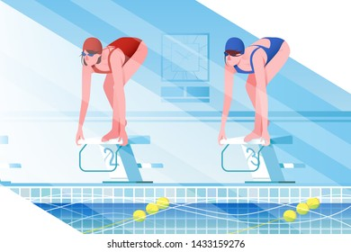 Flat young woman silhouette with sport swimsuit in swimming pool. Concept girl characters compete in swimming speed, relstionship. illustration.