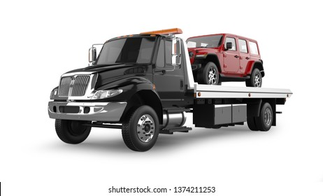 Flatbed Tow Truck 3D Rendering Isolated on White