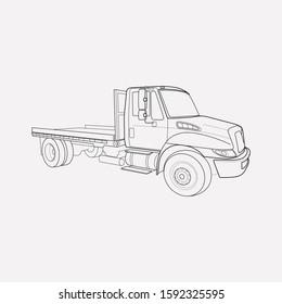 Flatbed truck icon line element. illustration of flatbed truck icon line isolated on clean background for your web mobile app logo design.