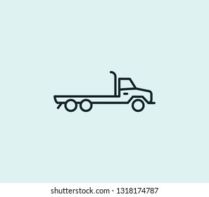 Flatbed truck icon line isolated on clean background. Flatbed truck icon concept drawing icon line in modern style.  illustration for your web mobile logo app UI design.