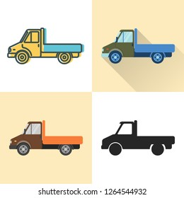 Flatbed truck icon set in flat and line styles. Cargo vehicle illustration. Transportation symbol isolated on white.