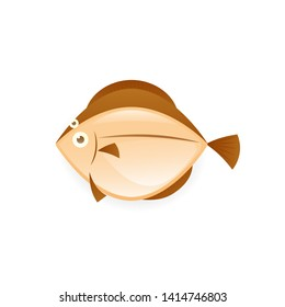 Flatfish cartoon icon. Seafood clipart isolated on white background