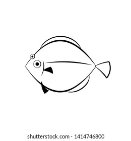 Flatfish outline icon. Seafood clipart isolated on white background