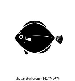 Flatfish silhouette icon. Seafood clipart isolated on white background
