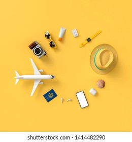 Flatlay with hat with sun glasses, t suitcase, slippers, hat, suntan cream, phone and camera on yellow minimal style background. Travel concept. 3D model render visualization illustration