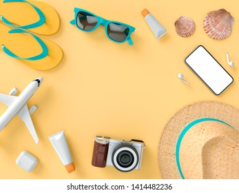Flatlay with sun glasses, slippers, hat, suntan cream, phone and camera on orange minimal style background. Travel concept. 3D model render visualization illustration
