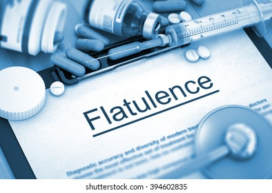 Flatulence - Printed Diagnosis with Blurred Text. Flatulence - Medical Report with Composition of Medicaments - Pills, Injections and Syringe. Toned Image. 3D Render.