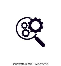 Flatware icon Check magnifier Machine on white background. Machine inspection symbols