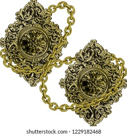Flawless Baroque Frame With Chain, Ornament Design