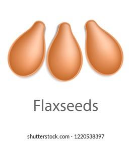 Flaxseeds mockup. Realistic illustration of flaxseeds mockup for web design isolated on white background