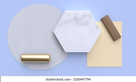 flay lay paper background blue-purple-blue minimal geometric shape 3d rendering