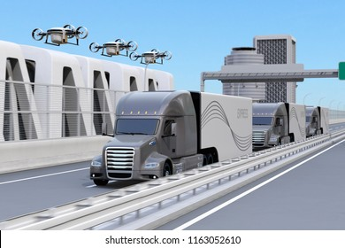Fleet of American Trucks, cargo drones on highway. Logistics and transportation concept. 3D rendering image.