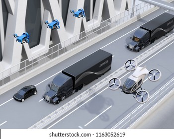Fleet of American Trucks, cargo drones and flying car. Logistics and transportation concept. 3D rendering image.