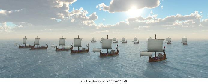 Fleet of ancient Roman warships Computer generated 3D illustration