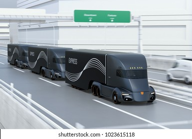 A fleet of black self-driving electric semi trucks driving on highway. 3D rendering image.