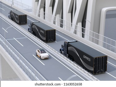 A fleet of black self-driving Fuel Cell Powered American Trucks driving on highway. 3D rendering image.