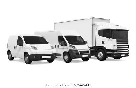 Fleet of Delivery Vehicles. 3D rendering
