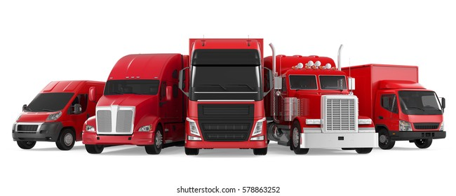 Fleet of Freight Transportation. 3D rendering