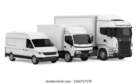 Fleet of Freight Transportation Isolated. 3D rendering