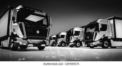 Fleet of modern trucks on light background. Shipment, business transportation. Brandless design. 3D illustration.