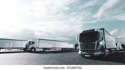 Fleet of new heavy trucks. Transportation, shipping industry. 3D illustration